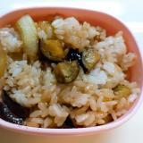 茄子と瓜の焼肉のたれ炒めご飯