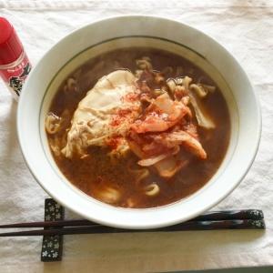 袋麺で簡単ランチ♪キムチ卵ピリ辛味噌煮込みうどん♡