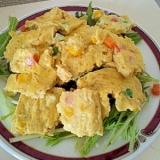 朝ごはんに♪スクランブルエッグ&水菜のサラダ