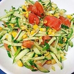 【キレイ応援朝食】きゅうり&トマトのコーンサラダ♪