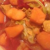 じゃがいもとビーツとキャベツと豚肉の和風スープ