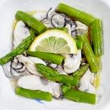 牡蠣とアスパラの和え物