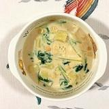 じゃが芋、水菜、クレソンの豆乳スープ