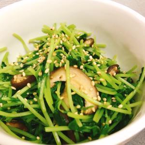 【お弁当に!塩分不使用】干し椎茸と豆苗の塩炒め