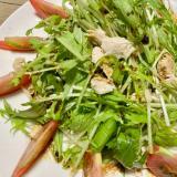 水菜と蒸し鶏のバルサミコ酢サラダ