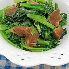 小松菜と砂肝の生姜風味炒め