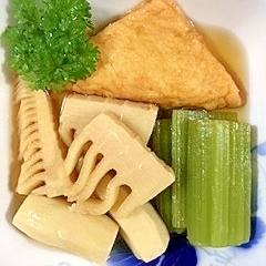 お魚厚揚げ、蕗、筍、里芋の煮物