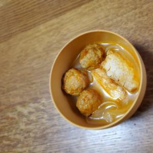 厚揚げと肉団子です玉ねぎのスープ
