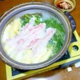 水菜で豚しゃぶしゃぶ肉でハリハリ鍋