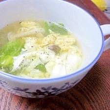 塩豚のゆで汁 DE 「レタスのたまごスープ」