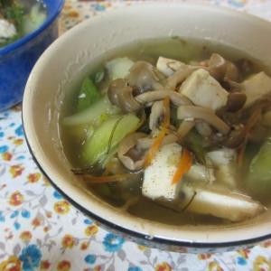 豆腐ときのこの和風スープ