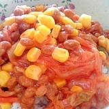 納豆の食べ方-キムチ&コーン♪