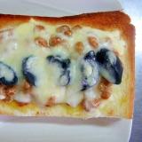 和からし&納豆&なすの浅漬けのチーズトースト