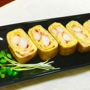ちょっぴり贅沢〜♪ずわい蟹たっぷりだし巻き卵♡
