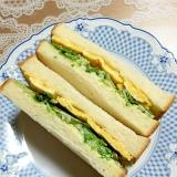 食べやすい!薄焼き卵と水菜のサンドイッチ♪