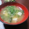 豆腐と小かぶの葉っぱ(*^^*)味噌汁☆