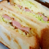 ❤たっぷりキャベツと魚肉ソーセージのホットサンド❤