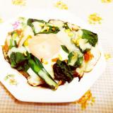 チーズ&柑橘風味♪小松菜と竹輪の巣ごもり卵