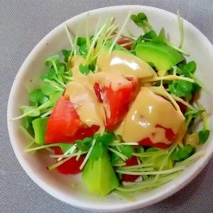 アボカドとトマトとかいわれの胡麻マヨポン++
