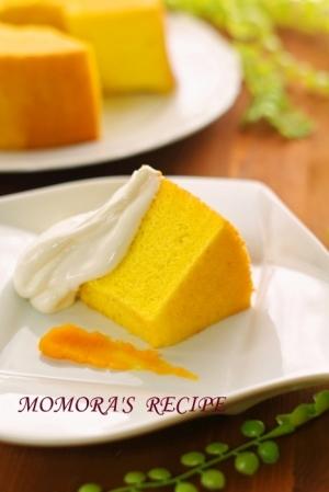 HMで簡単♪ふわふわシットリかぼちゃシフォンケーキ