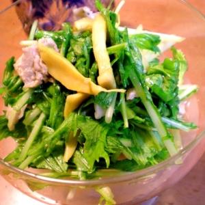 水菜と豚こまとエリンギのすだちサラダ