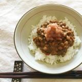 さっぱり美味い!海苔佃煮納豆のたたき梅のっけご飯♡