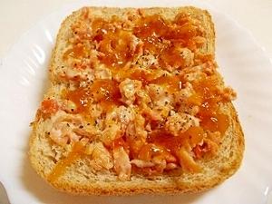 鮭マヨポン酢風味おろし大根トースト
