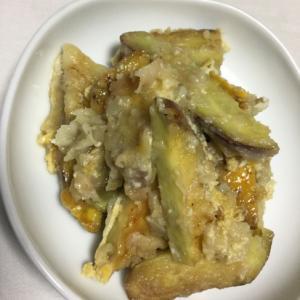 ピリ辛サツマイモの天ぷらの卵とじ