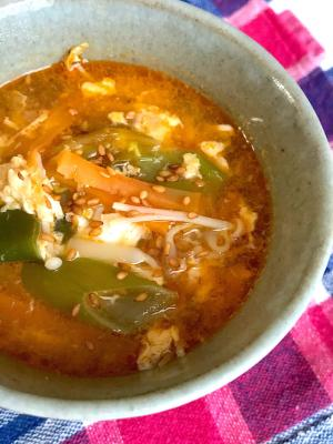 キムチと卵の中華スープ