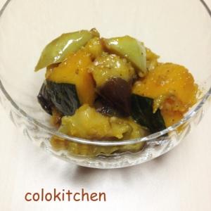 揚げ茄子とかぼちゃのガーリックマリネ