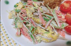 ゴママヨポン♡水菜と炒り卵のサラダ