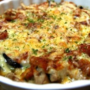 チキンとなすのトマトソースチーズ焼き