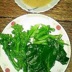 収穫した小松菜&菜の花でサラダ お花見にも♪