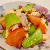 【疲労回復】トマト、ちんげん菜、卵のオイスター炒め