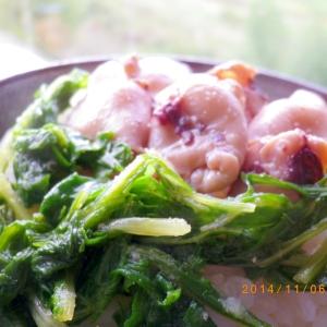 小イカと水菜の丼