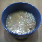 鮭、白米、玄米のおかゆ