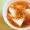 気負わず簡単精進、豆腐の蕎麦の実餡かけ