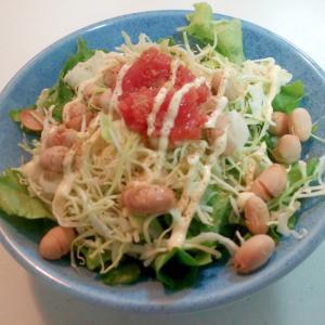 レタス・キャベツ・炒り大豆・明太子の和風サラダ