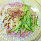 サラダチキン・胡瓜・茗荷の梅素麺