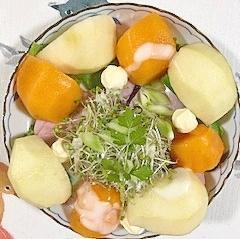 ロースハム、セロリ、柿、ラ・フランスのサラダ