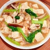 いつまでも熱々!とろりん♥豆腐と海老のうま煮。