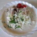 牛乳と味噌あじのスープに そうめんをいれました!