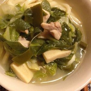 ネギと鶏肉と高野豆腐の白味噌うどん。