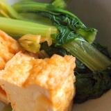 小松菜と厚揚げのめんつゆしょうが煮
