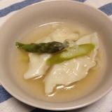 スープで食べる!アスパラスープの水餃子