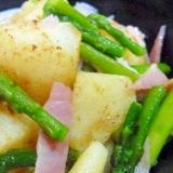 アスパラ ジャガイモ 玉ねぎの炒め物