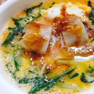 リメイク!水菜と春巻きの卵とじ からし醤油かけ