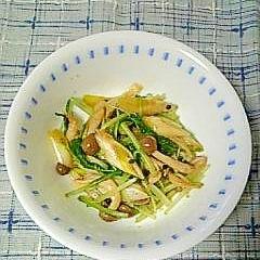 シャキシャキ☆水菜と長ねぎの辛子醤油合え☆