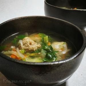 セロリと生姜たっぷり♪やわらか肉団子入りスープ♥