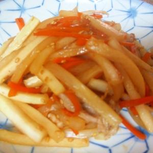 豚肉、大根、にんじんの生姜マヨきんぴら